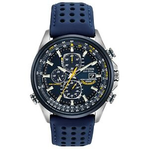 Citizen-Eco-Drive-Blue-Angels-Men-039-s-Chronograph-Blue-Strap-42mm-Watch-AT8020-03L