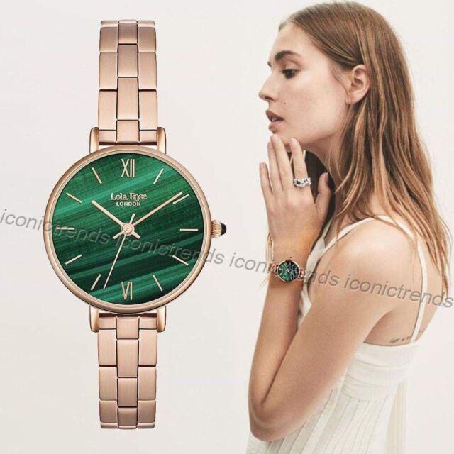 89e2bd1cf6faa NWT 🌲 Lola Rose LONDON LR4068 Good Fortune Green Malachite Dial Rose Gold  Watch