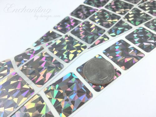 """100 Scratch Off Labels 1/"""" x 1/"""" Hologram Square Stickers"""