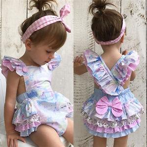 d08a680cfb30 Details about UK Infant Baby Girls Lace Floral Romper Bodysuit Jumpsuit  Outfit Sunsuit Clothes