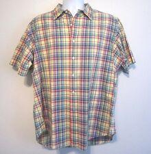 Ralph Lauren Classic Fit Blue Green Madras Plaid Short Sleeve Button Shirt L