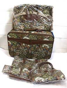 HAMPSHIRE-Vintage-Tapestry-Print-5-Piece-Luggage-Suitcase-Travel-Bag-Set-New