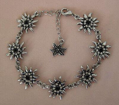 German bracelet with 7 Edelweiss flowers crystal white black Oktoberfest Dirndl