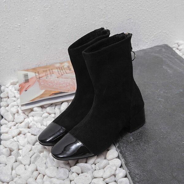 Bottes carré 4.5 cm noir en daim élégant comme cuir 1621