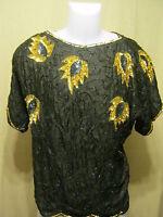 Tina Vintage Womens Formal Top/blouse,medium,black/gold,beaded/sequins