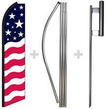 POLE MOUNT KIT Feather Swooper Banner USA AMERICAN STARS STRIPES FLUTTER FLAG