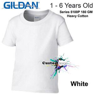 Gildan-White-T-SHIRT-Basic-Tee-Baby-Toddler-Youth-Kids-Boy-Girl-Cotton