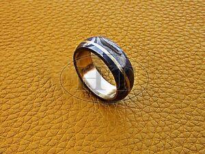 Handmade Cutting Edge Design Men Ring Damascus Steel Wedding Band