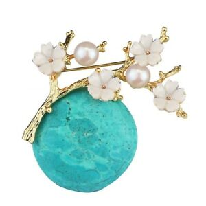 High-Grade-Vintage-Turquoise-Brooch-Classical-Shell-Pearl-Plum-Brooch-Pin-F-G5H5