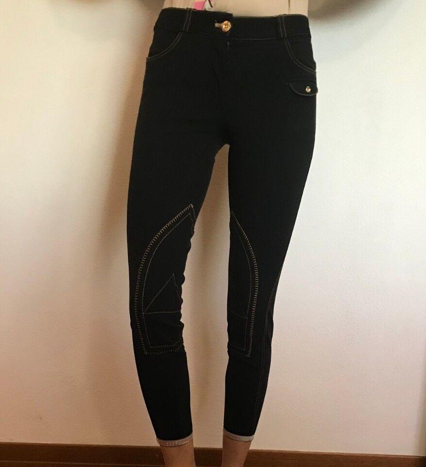 Pantaloni equitazione 38 Donna sarm Hippique Neri e oro Alta qualità
