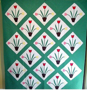 HAND-APPLIQUED-AND-HAND-QUILTED-POT-OF-TULIPS-UNIQUE