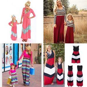 Summer-Family-Clothes-Mother-Daughter-Dresses-Womens-Kids-Girls-Long-Maxi-Dress