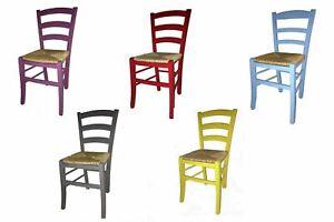 Dettagli su Sedia sedie rustica paesana legno faggio seduta paglia anilina colorata cucina