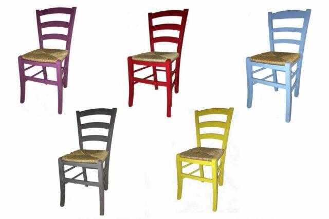 Sedia sedie rustica paesana legno faggio seduta paglia laccata colorata cucina