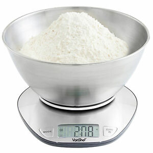 VonShef-5kg-Electronic-Digital-Stainless-Steel-Mixing-Bowl-Food-Kitchen-Scales