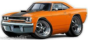 Details about 1970 Plymouth Roadrunner 440 6 Pack Cartoon Car Wall Stickers  Graphic Poster