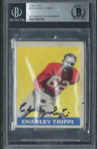 CHARLEY TRIPPI 1948 48 LEAF SIGNED AUTO AUTOGRAPH ROOKIE RC #29 BGS AUTHENTIC