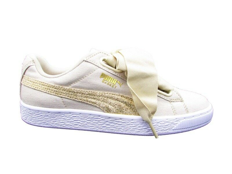 PUMA SNEAKERS BASKET HEART CANVAS WN'S SNEAKERS PUMA BEIGE BIANCO 366495-01 180cd8