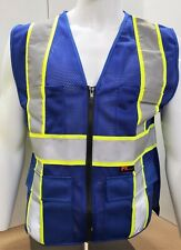 Fx Two Tone Hi Vis Blue Safety Vest With 4 Front Pocket Small To 5xl