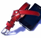 Knot Small way 1.5cm wide iron buckle genuine leather black red woman belt 2013