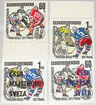 Czechoslovakia Tschechoslowakei 1972 2065-66 2084-85 Ice Hockey Eishockey Mnh
