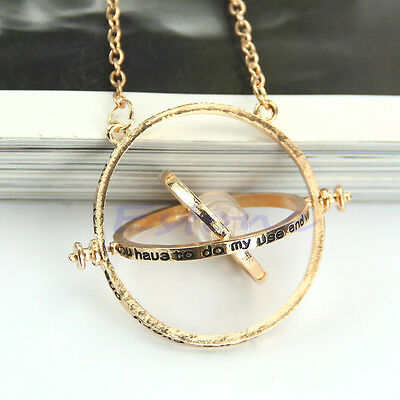 Hermione Granger Rotating Time Turner Necklace Gold Hourglass Gift
