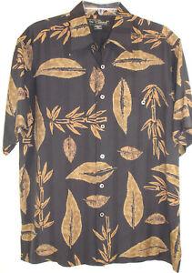 Tori-Richard-Silk-Shirt-Sz-M-Black-Tan-Leaves-Hawaiian-Camp-Aloha-USA-Made