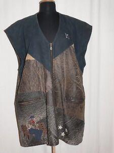 Brown rustique gilet broderie en exceptionnels de maison rᄄᆭgionaux cuir avec Costumes L5R4jq3A