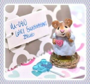 ❤️Wee Forest Folk M-080 Girl Sweetheart Blue Dress Pink Heart Valentine Mouse❤️