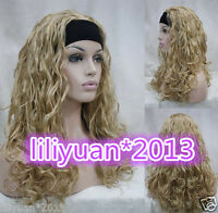 Sexy Ladies wig Long Golden Blonde 3/4 with headband curly Wavy half wigs