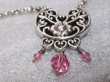 Brighton PORCELAINE Flower Floral & Pink Beads Pendant Necklace +Heart Tin