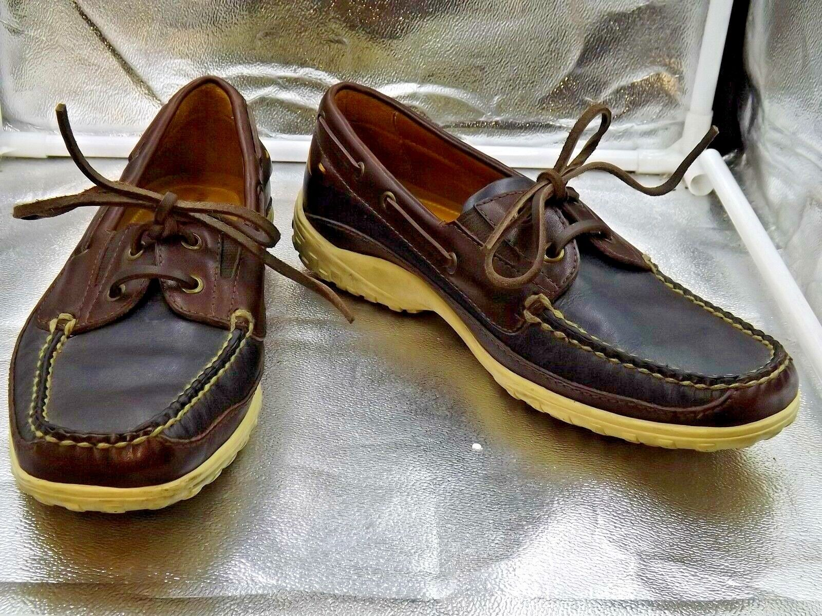 JOHNSTON MURPHY 8M HANDCRAFTED BRAZIL 20-5295 BROWN  BLACK 4 HOLE  OXFORD LOAFER