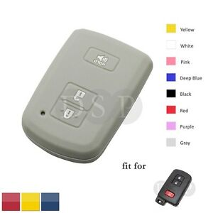 Silicone Cover Shell fit for TOYOTA Smart Remote Key Case 2+1 Button Hollowed GY