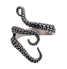 Titanium Steel Octopus Tentacle Ring - Adjustable - Nautical Squid Ocean
