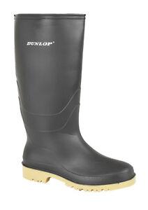 e4921eaddef2 Image is loading boys-girls-women-unisex-black-Dunlop-wellington-boots-