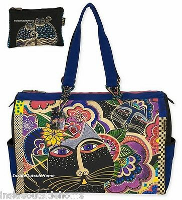 Laurel Burch Carlotta's Black Cat Lg TRAVEL Overnight Weekender Tote +Makeup Bag