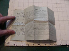 vintage paper: trick instructions only circa 1950's: ADAM'S CUPS AND BALLS