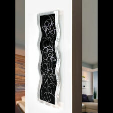 Modern Abstract Black Silver Original Metal Wall Art Wave Sculpture by Jon Allen