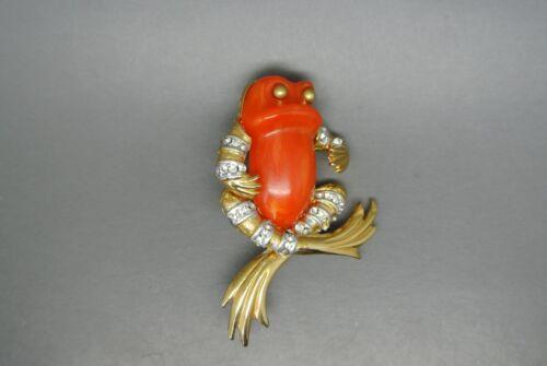Vintage Sphinx orange lucite belly frog gold-tone brooch