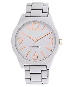 Nine-West-Womens-Watchme-Analog-Display-Japanese-Quartz-Grey-Bracelet-Watch