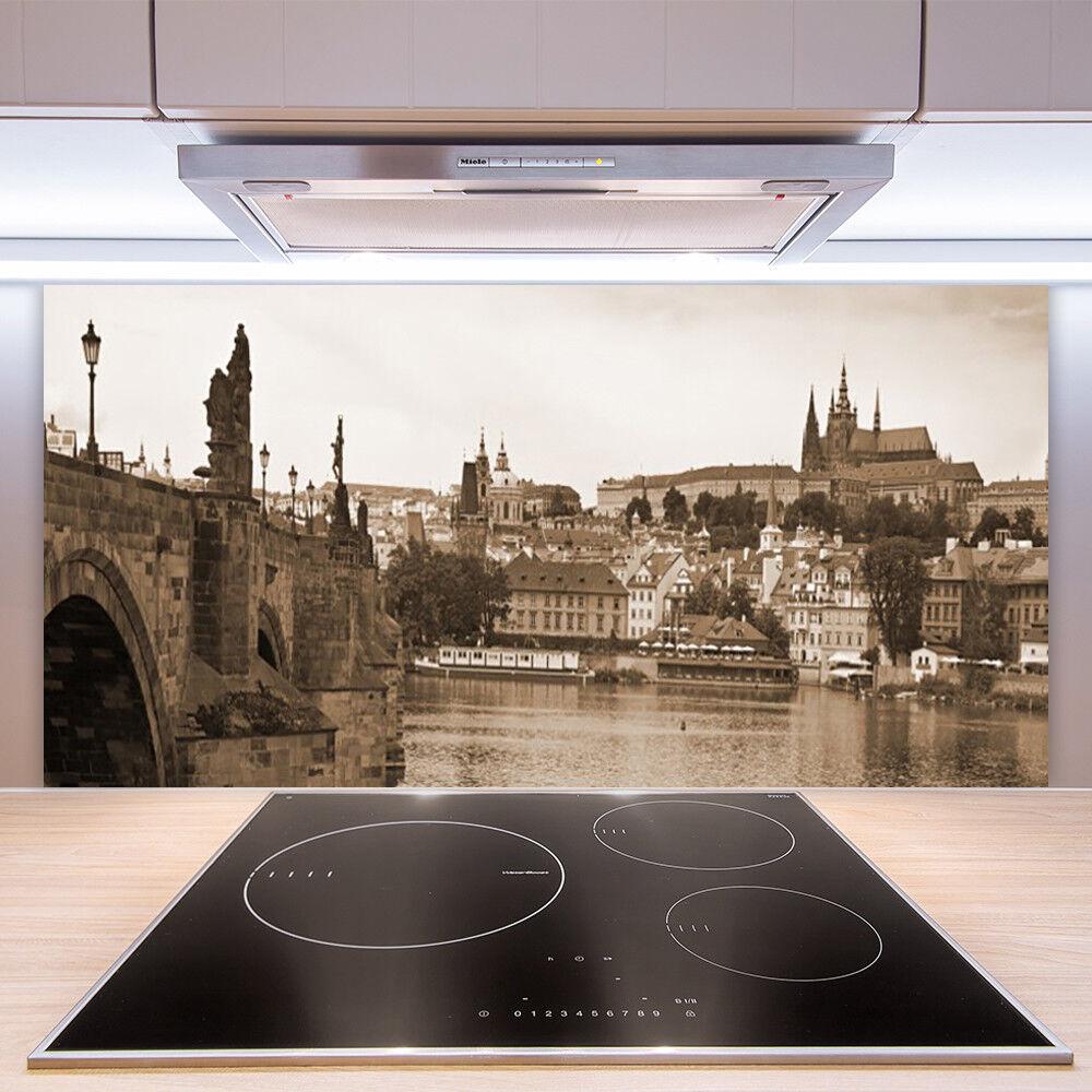 Crédence de cuisine en verre Paroi Panneau Paroi verre 100x50 Paysage Pont De Prague 99bf63