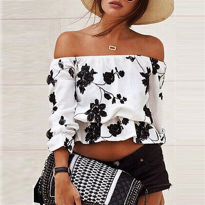 New Womens Ladies Off Shoulder Blouse Top Loose Casual Floral T-Shirt Tops