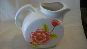 VINTAGE-HAND-MADE-POTTERY-CERAMIC-PITCHER-WHITE-WITH-RED-FLOWERS-YELLOW-LEAVES