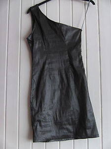 LADIES-LOVELY-GREY-STRETCHY-METALLIC-LOOK-ONE-SHOULDER-DRESS-SIZE-10-12