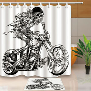 Image Is Loading Skeleton On A Motorcycle Decor Bathroom Fabric Home