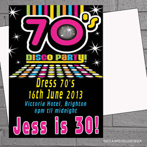 1970s seventies 70s disco birthday party invitations x 12 env h0065