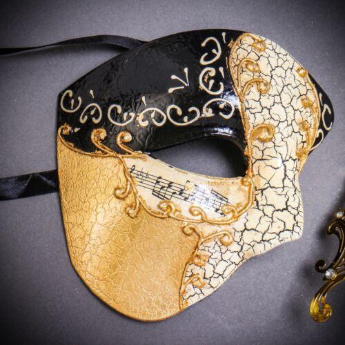 Gold Half Face Phantom Opera Venetian Masquerade Party Masks Couple Pair Set