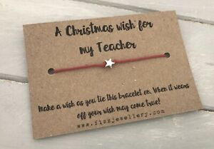 A-Christmas-Wish-For-My-Teacher-Message-Card-Red-Tie-Wish-Bracelet-Xmas-Gift