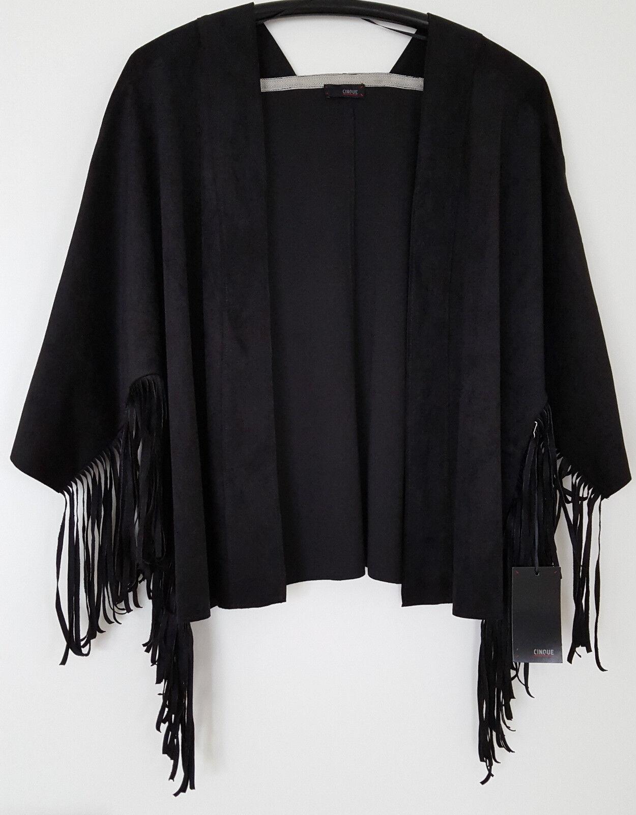 CINQUE Damen Jacke Fransenjacke Trendjacke Boho Schwarz Gr.38 NEU