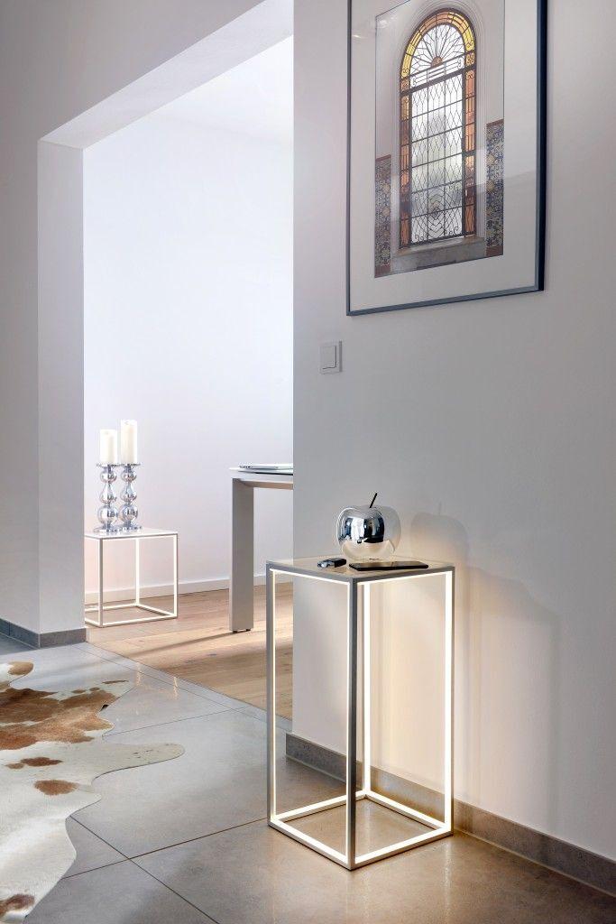 78944 Sompex DELUX LED beleuchteter Tisch Säule mit Glasplatte Säule NEU